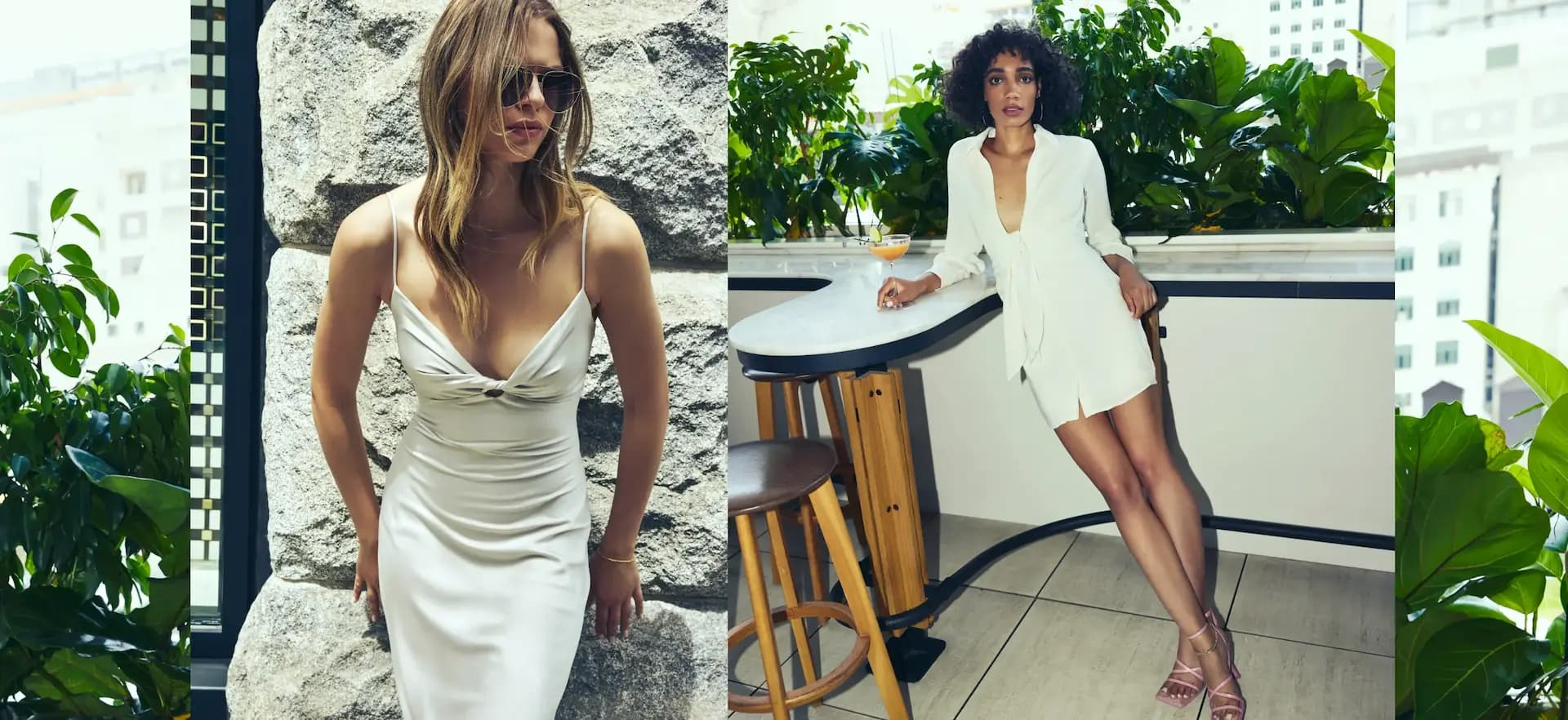 A model wears a white bodycon satin dress and sunglasses and another wears a white tie-front shirtdress with long sleeves.